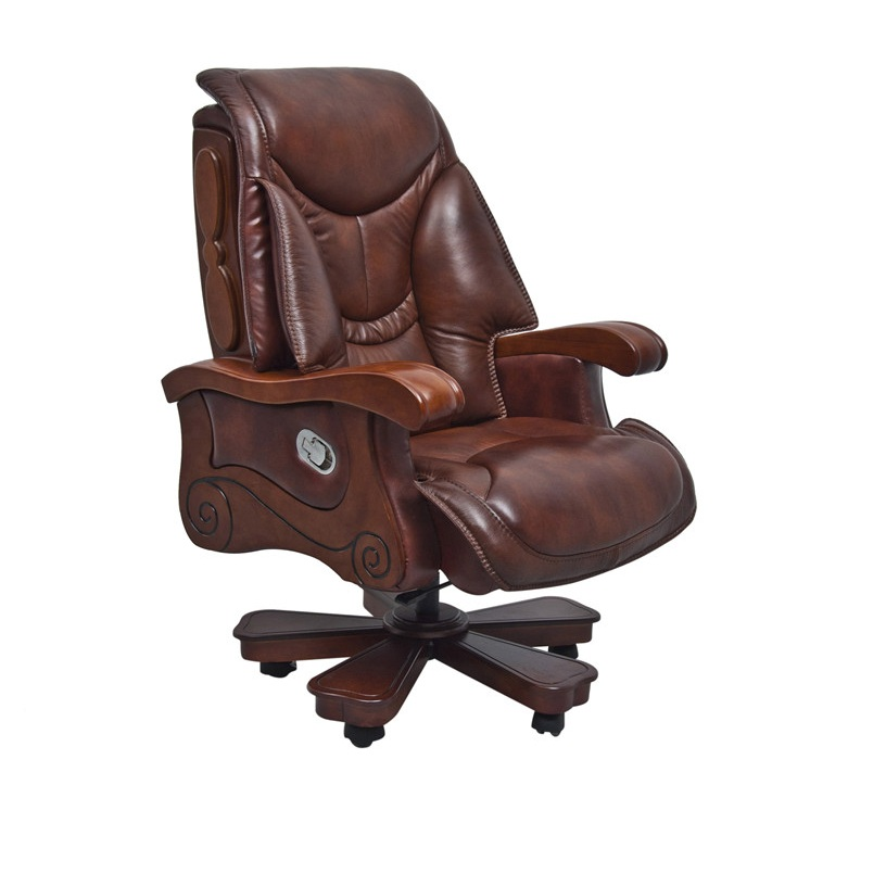 40 Classic Brown Leather Office Chair For Boss Foh 1221
