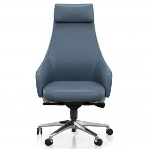 High tapering back office blue chair
