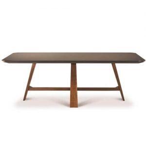 angled leg smoked glass top dining table