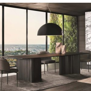 dual curved legged licorice finish dining table